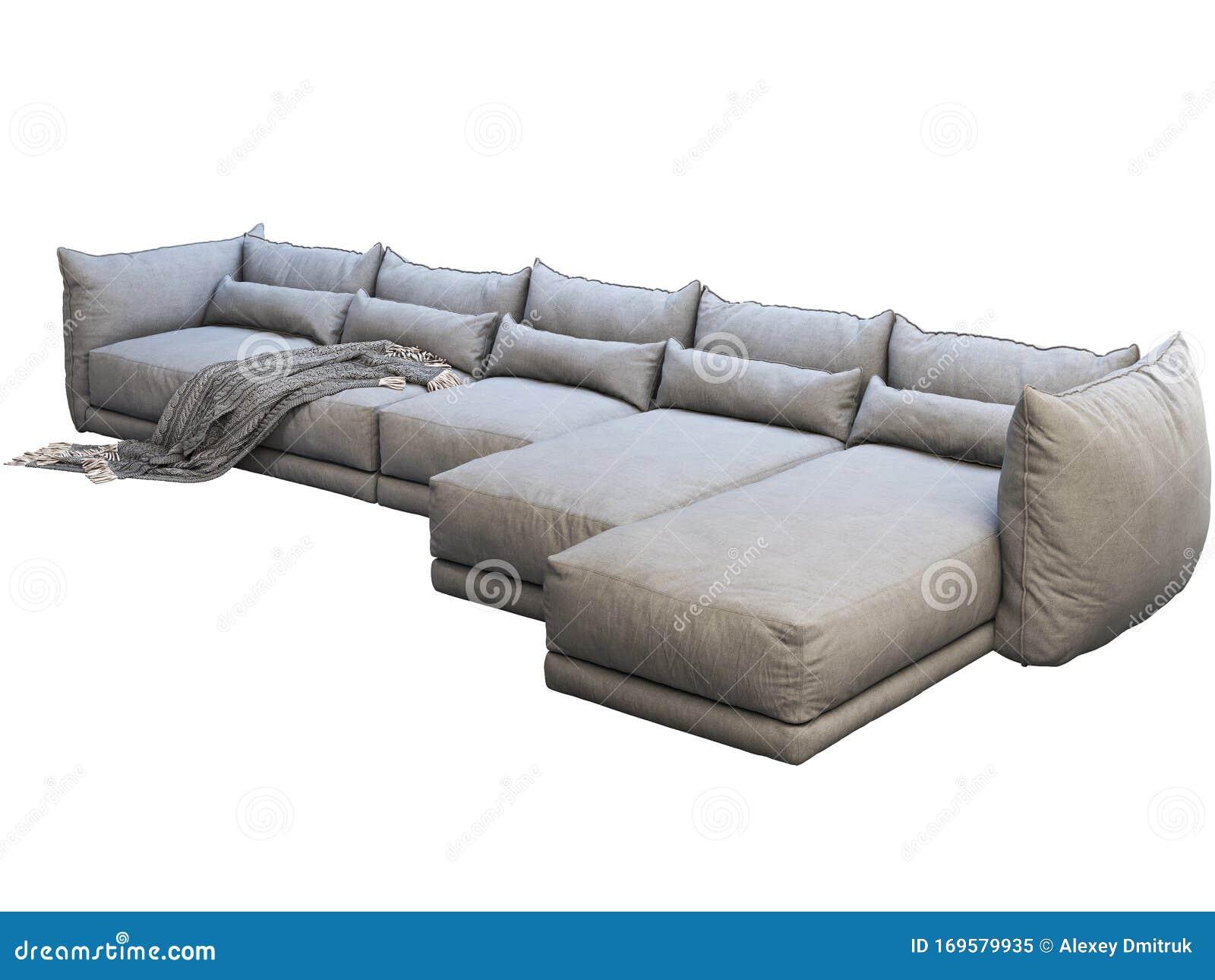 Modern Huge Gray Corner Fabric Sofa With Chaise Lounge 3d Render Stock Illustration Illustration Of Wrinkles Comfort 169579935