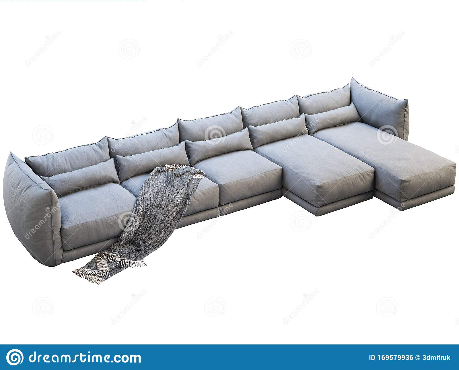 Modern Huge Gray Corner Fabric Sofa With Chaise Lounge 3d Render Stock Illustration Illustration Of Interior Fabric 169579936