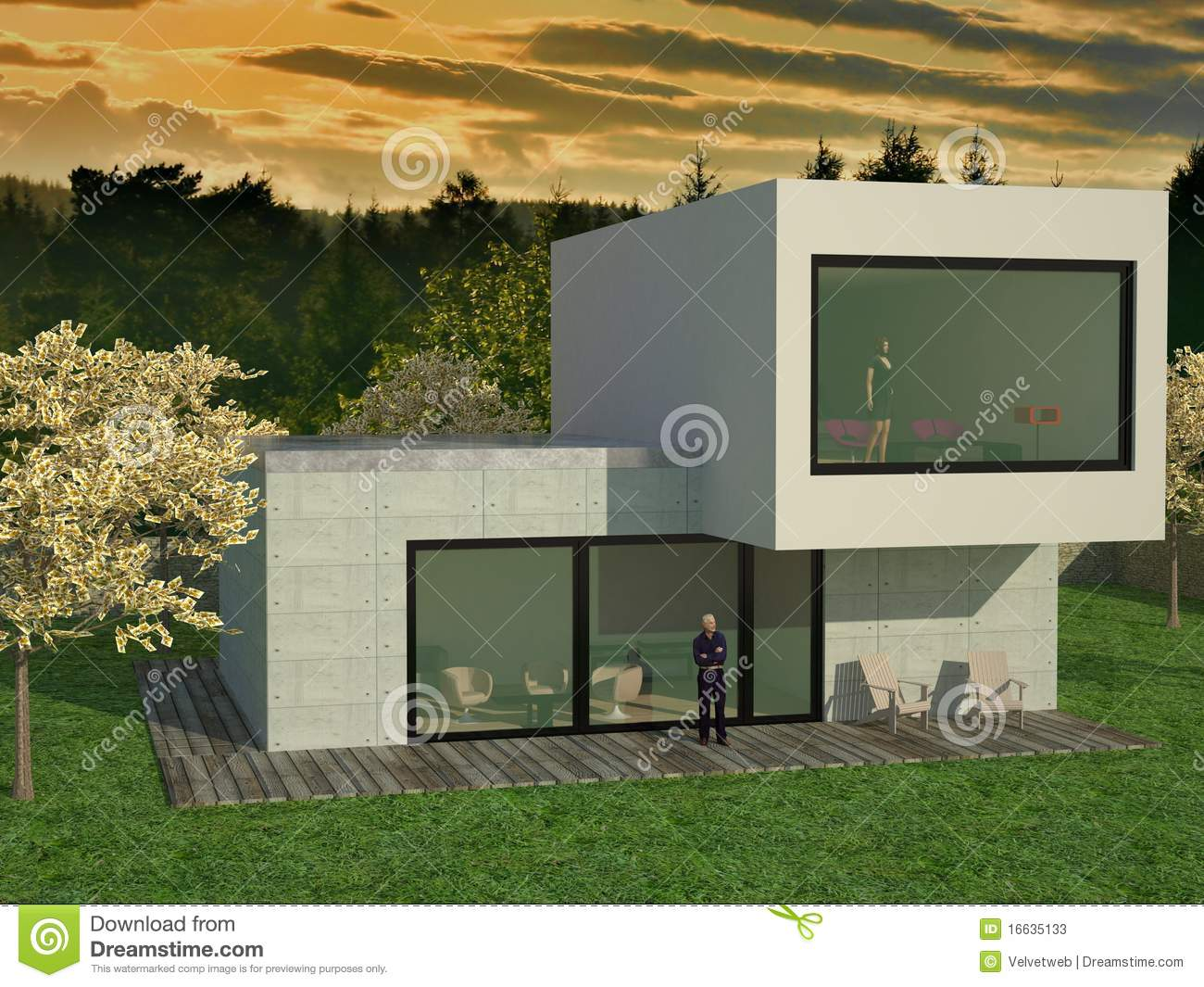 Modern huis stock foto 39 s afbeelding 16635133 for Moderne huis foto