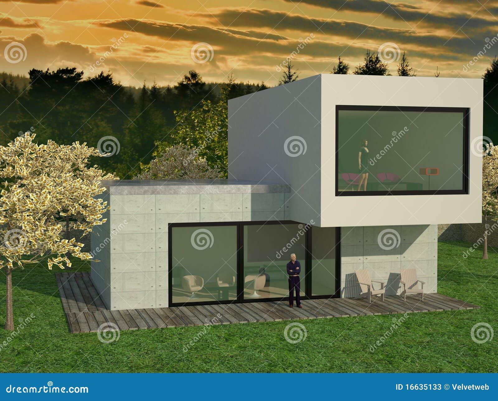 Modern huis stock afbeelding afbeelding bestaande uit geproduceerd 16635133 for Terras modern huis