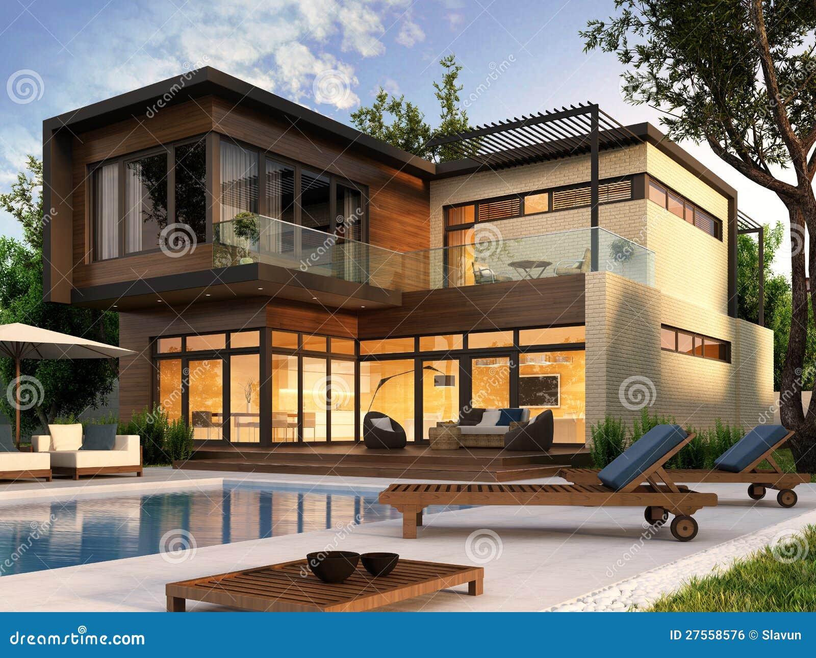 Modern huis royalty vrije stock afbeelding afbeelding 27558576 for Terras modern huis
