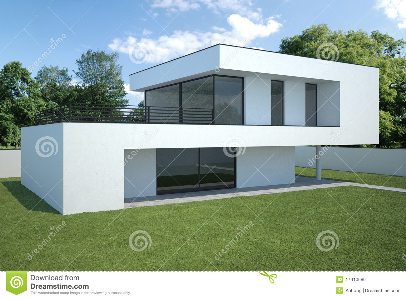 Modern huis buitenkant met gazon stock illustratie for Piani casa moderna ranch