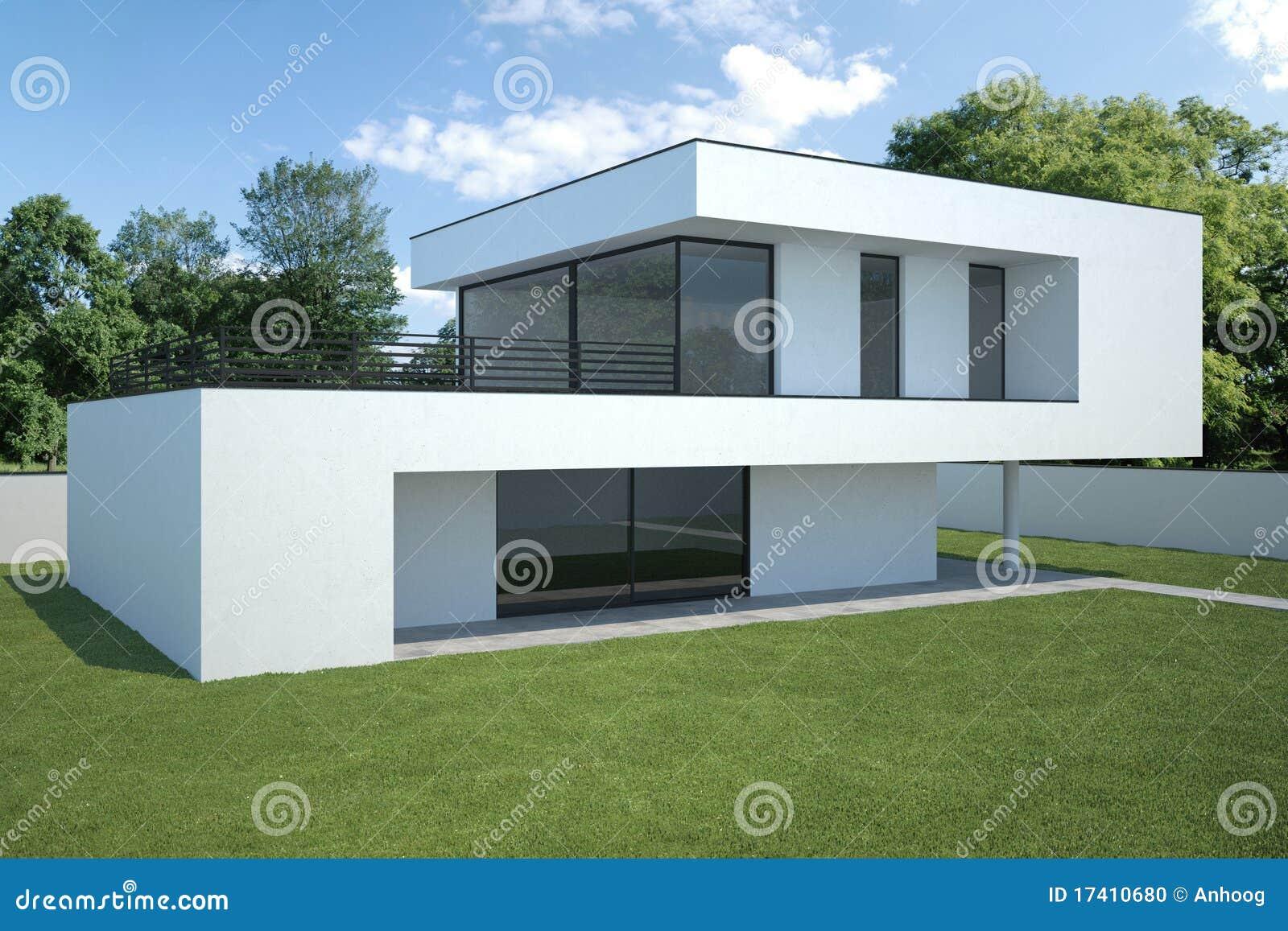 Modern huis buitenkant met gazon stock foto afbeelding 17410680 for Terras modern huis