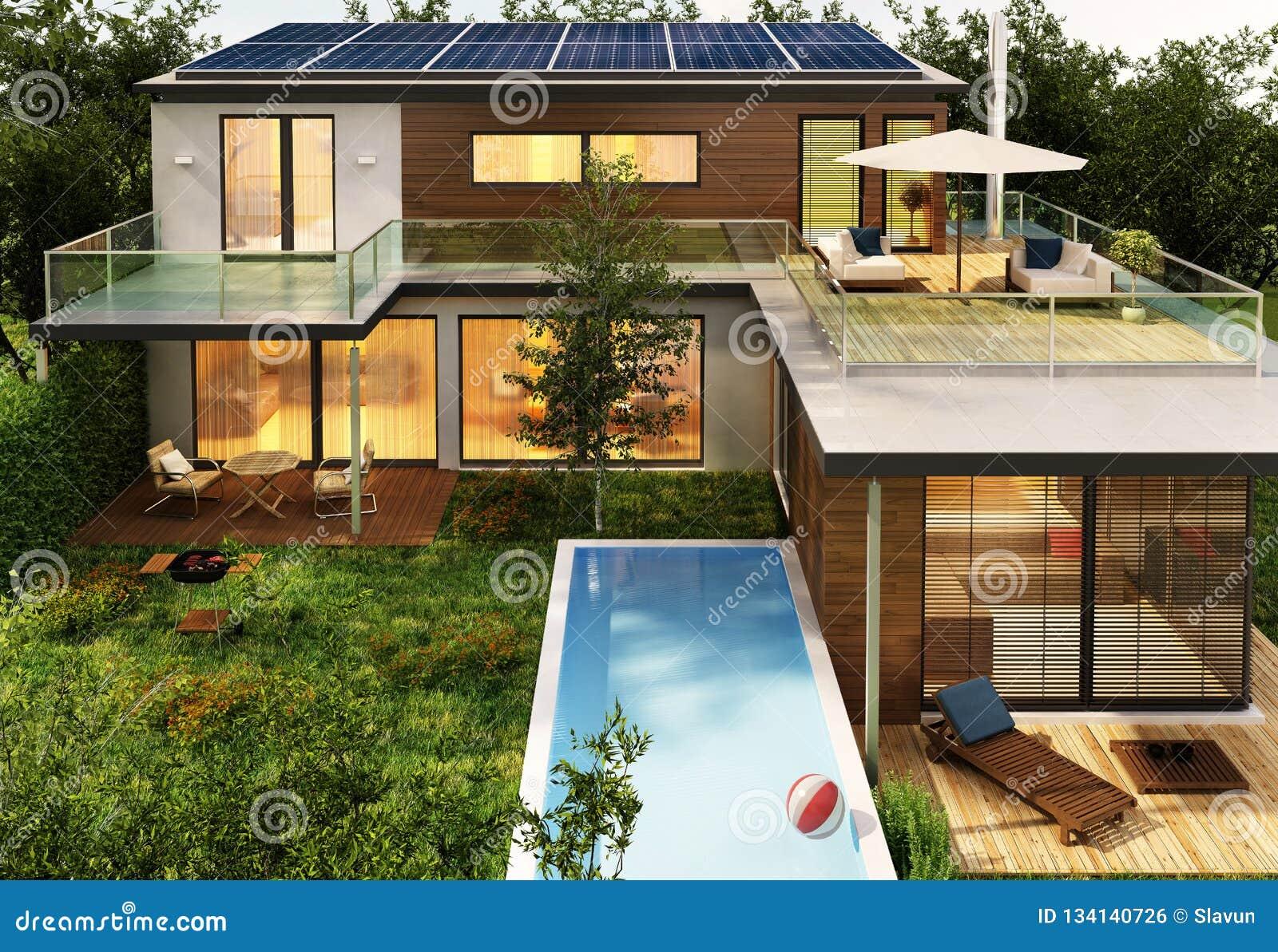 Modern huis met pool en zonnepanelen