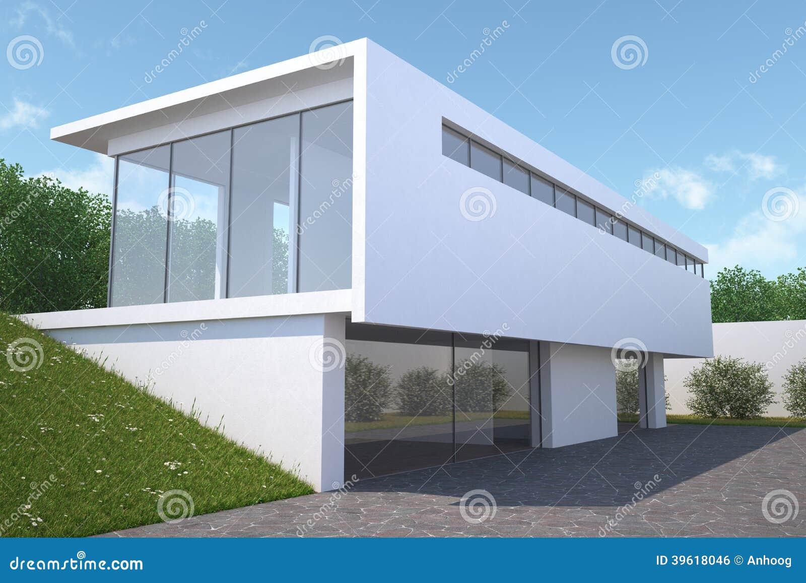 Modern huis met tuin buitenmening stock illustratie