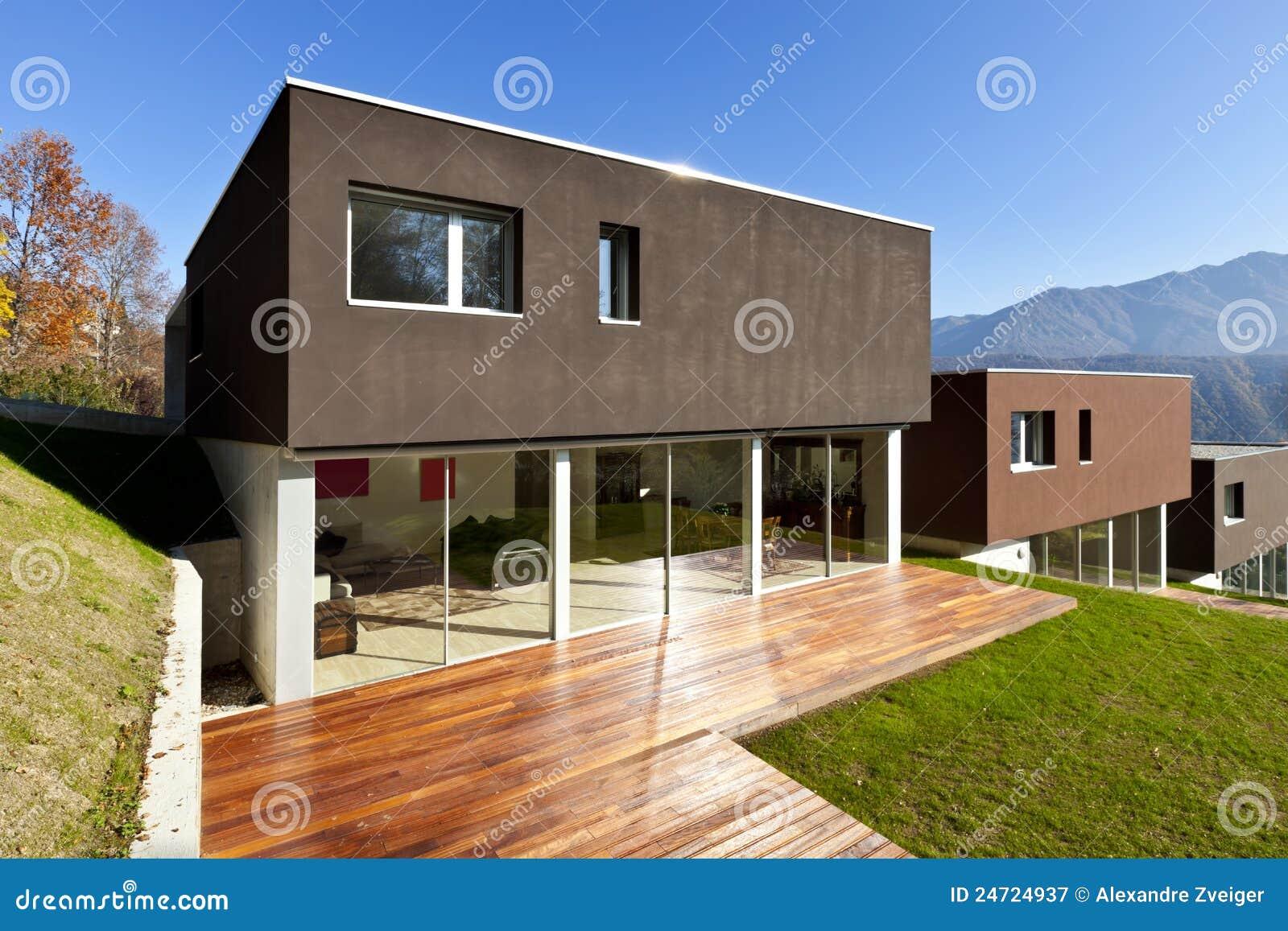 Modern huis terras stock afbeelding afbeelding bestaande uit
