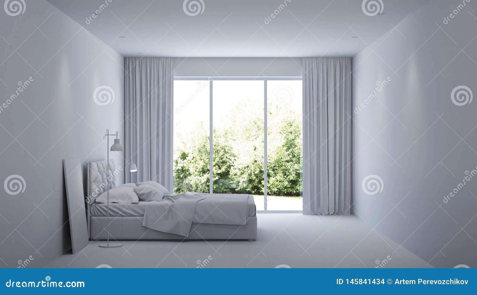 Modern huisbinnenland Binnenlandse slaapkamer met glasverdelingen