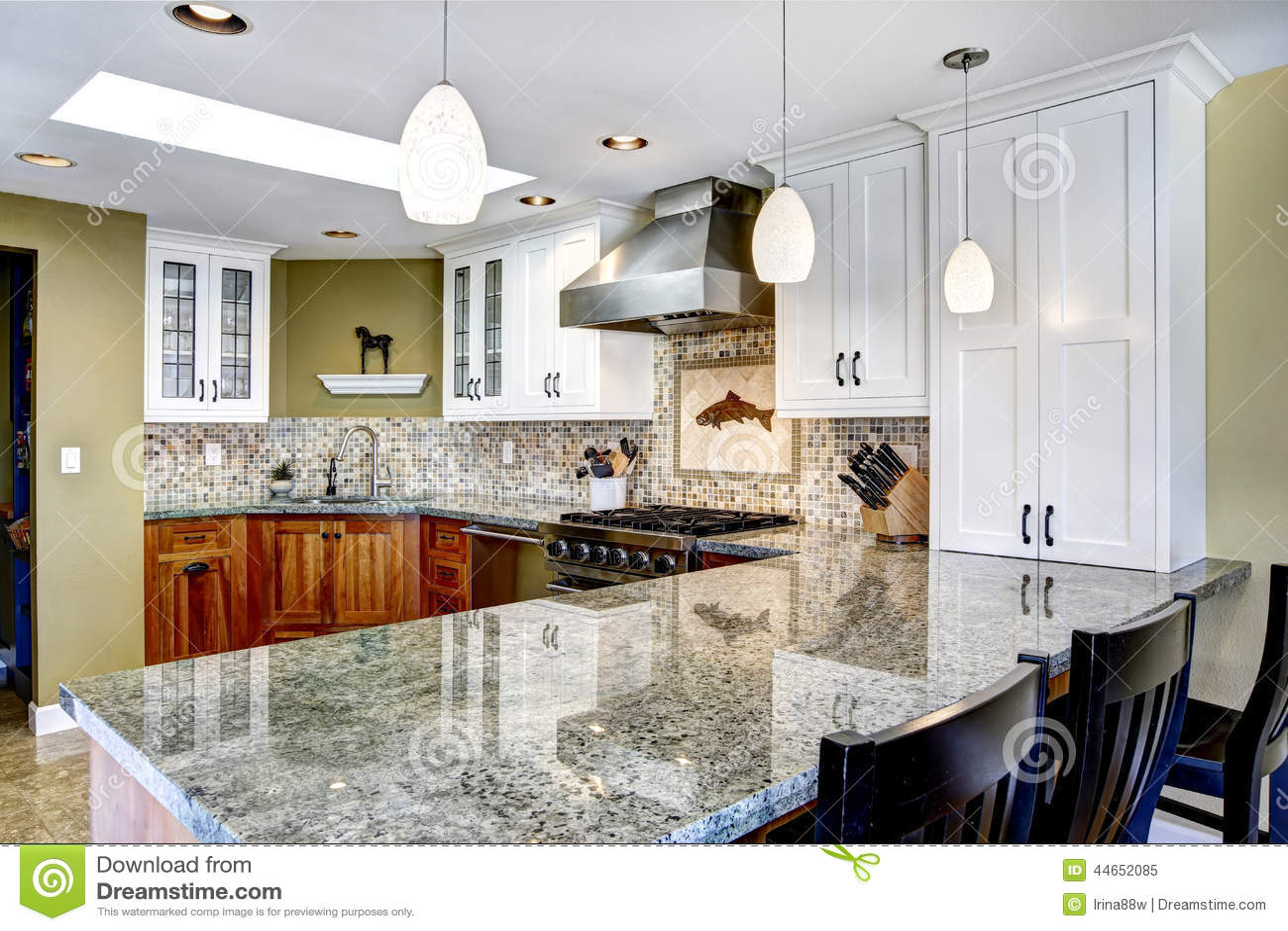 Modern huisbinnenland keukenruimte met glanzende