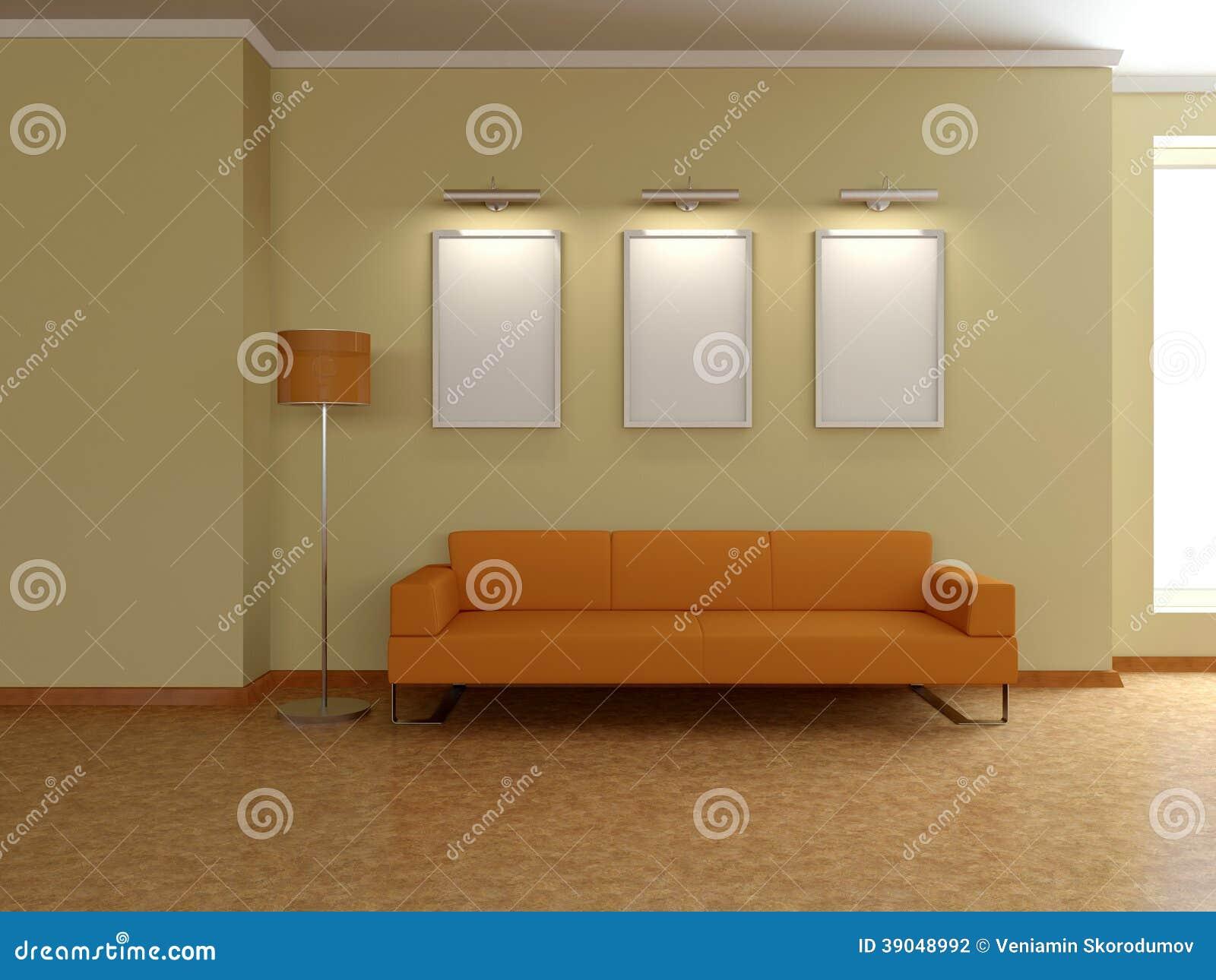 Modern huisbinnenland met bank schilderijen d stock