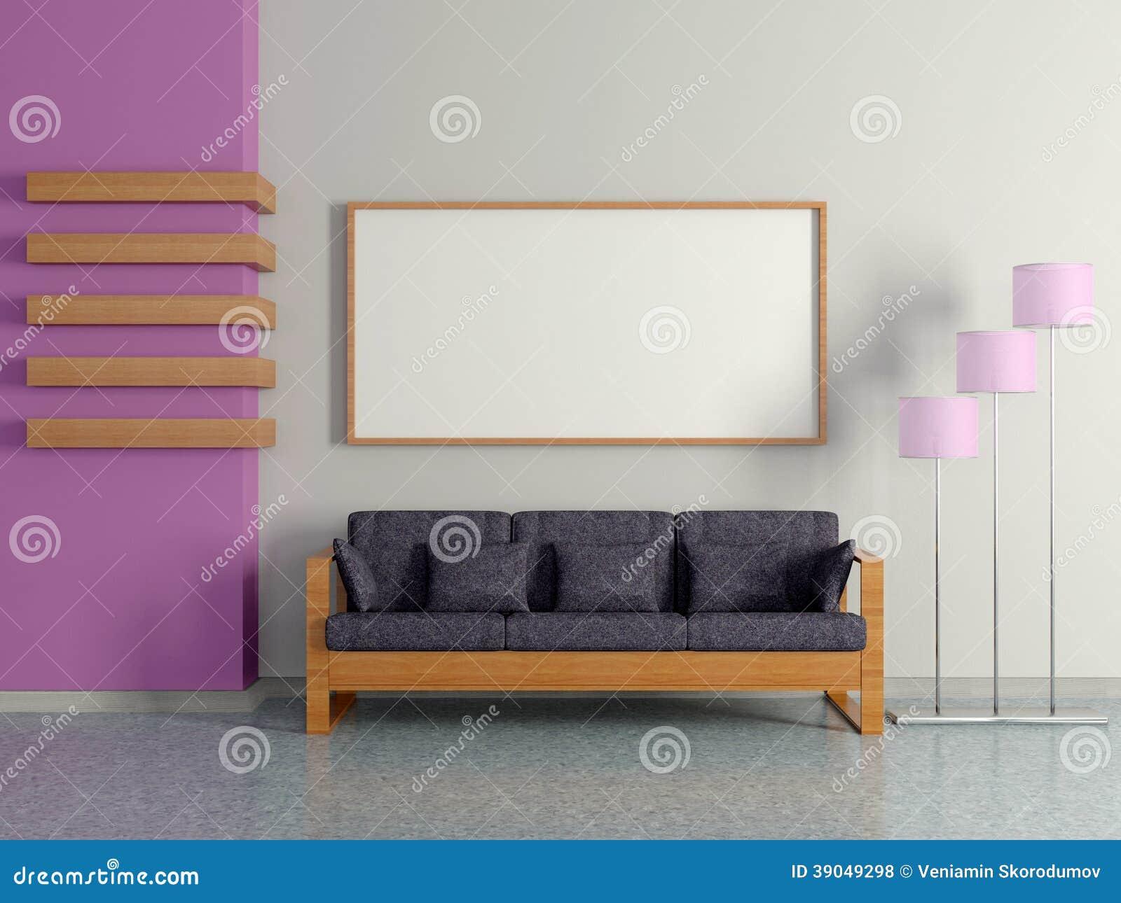 Modern huisbinnenland met bank staande lamp stock illustratie