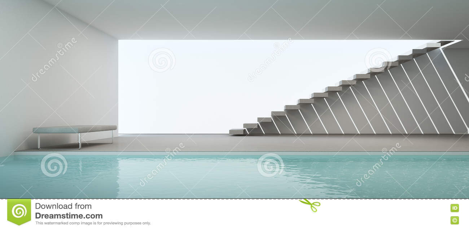 Modern huisbinnenland met zwembad en witte muur stock afbeelding