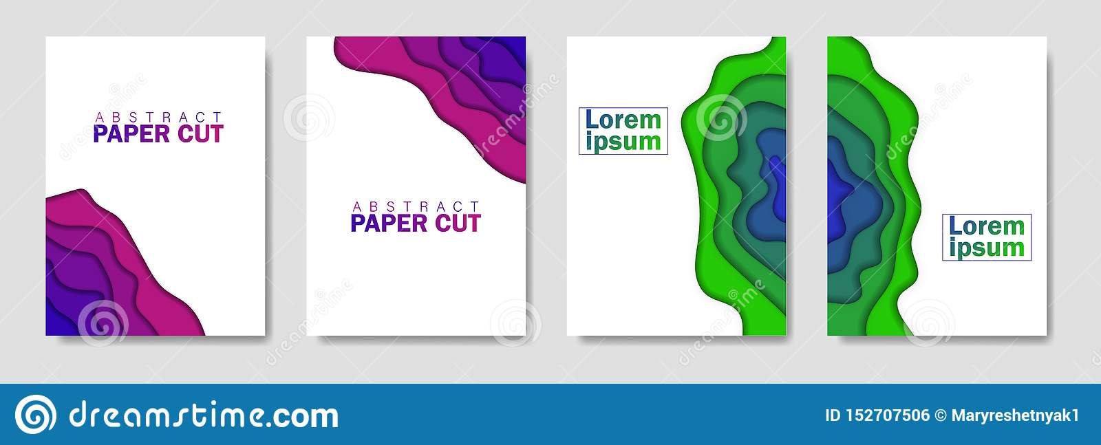 Modern idérik uppsättning av affischer med en abstrakt bakgrund 3d och papperssnittformer Designorientering, minsta mall för rekl