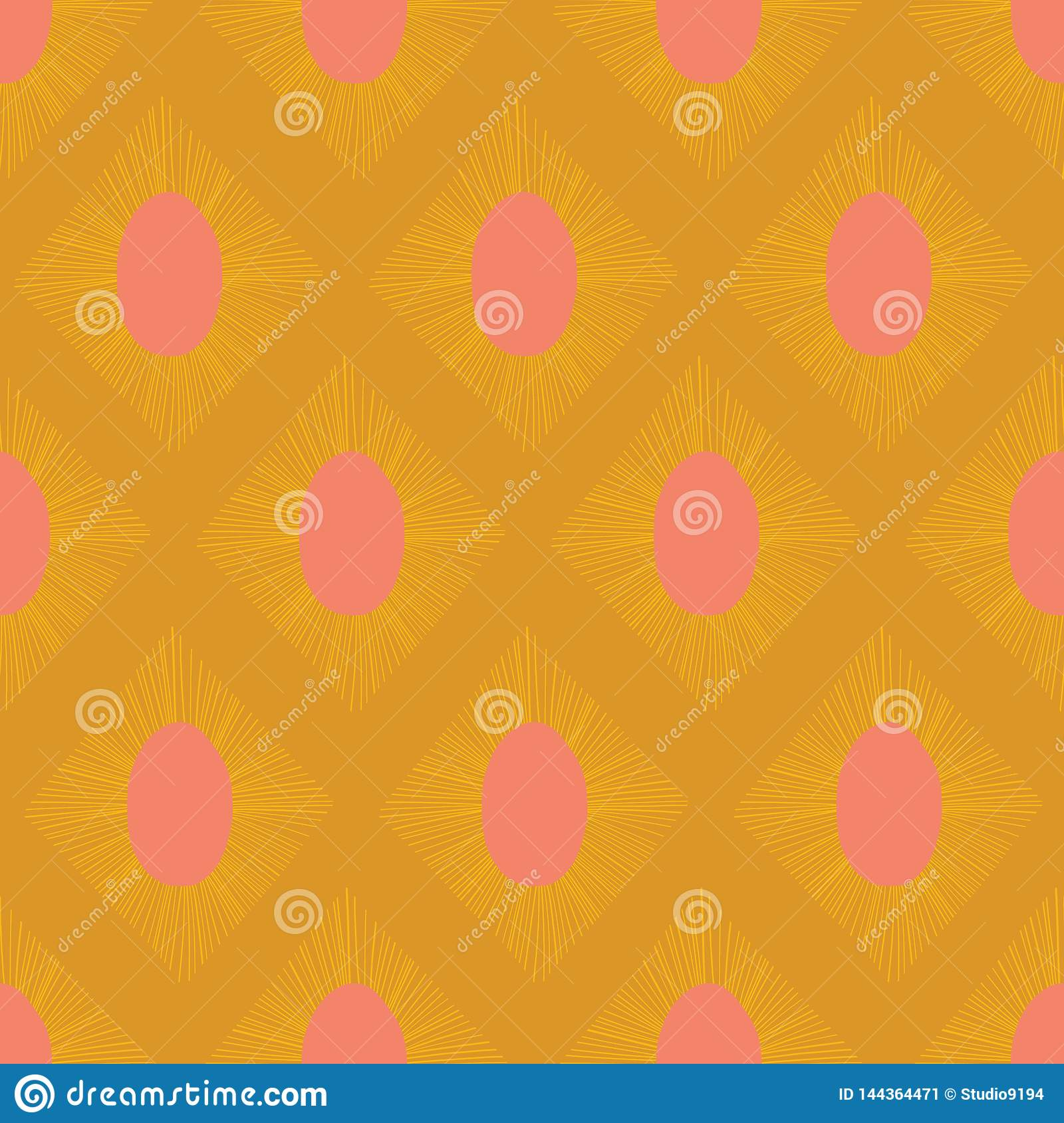 Modern Ikat seamless vector pattern gold yellow pink. Abstract rhombus shapes repeating background.