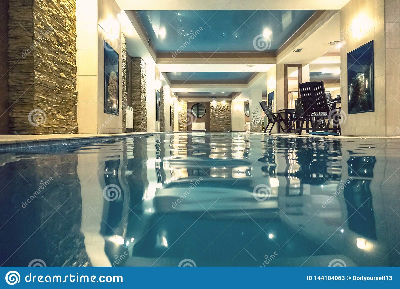 Modern Indoor Pool In SPA At Hotel Stock Image - Image of ...