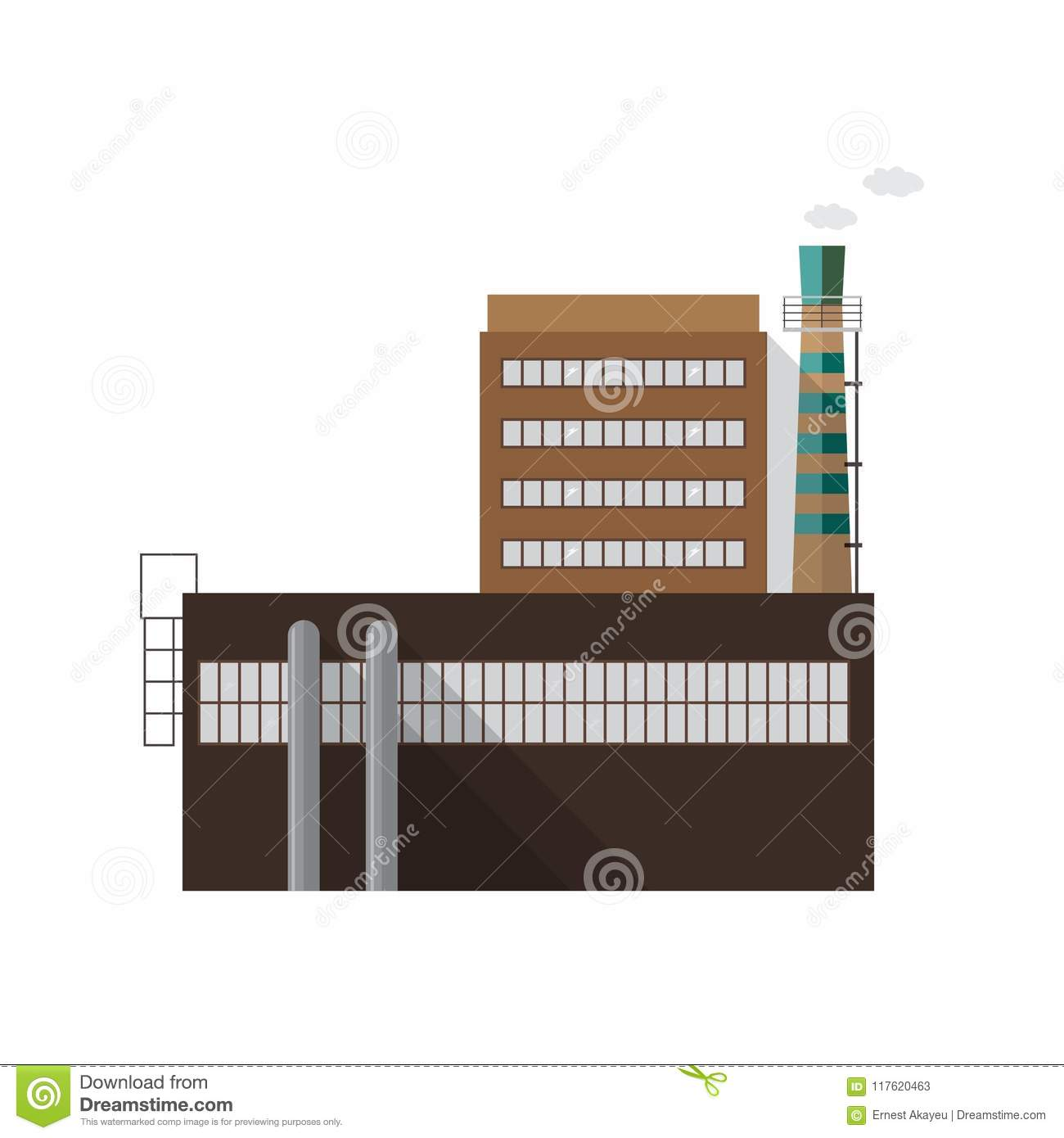 colorful contemporary modern industrial. Modern Industrial Factory Building With Pipe Emitting Smoke Isolated On  White Background. Facade Of Power Station Contemporary Architecture. Colorful Modern I