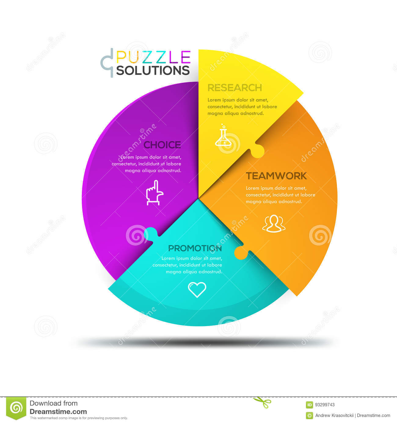 modern infographic design template circular jigsaw puzzle divided