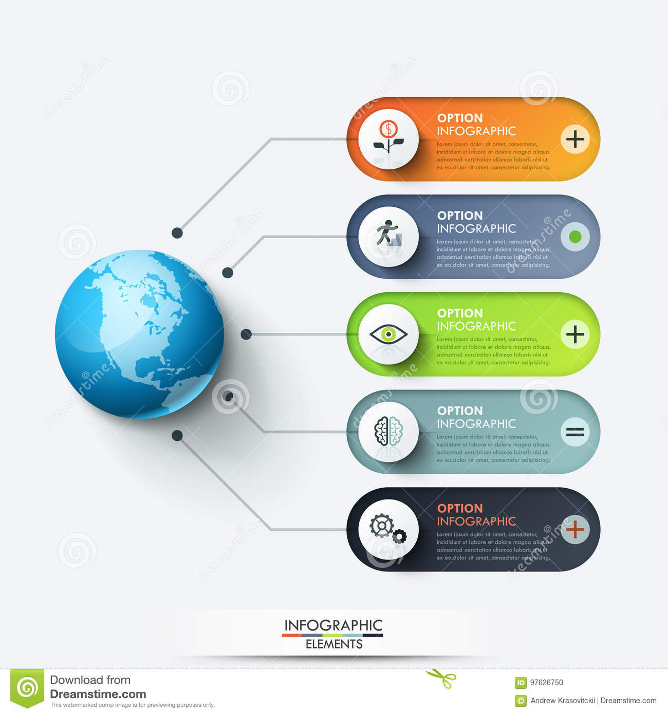 modern infographic design template planet connected with 5 rounded