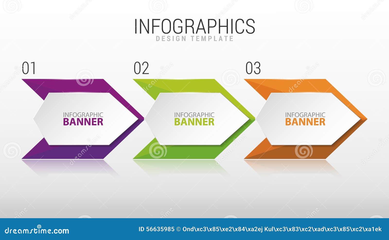 Modern Infographic Design Template. Three Steps. Vector