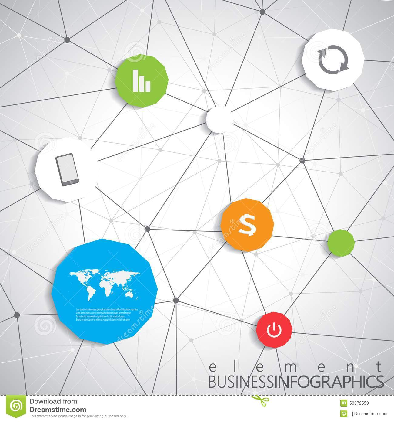 Modern Infographic Network Template With Place For Your