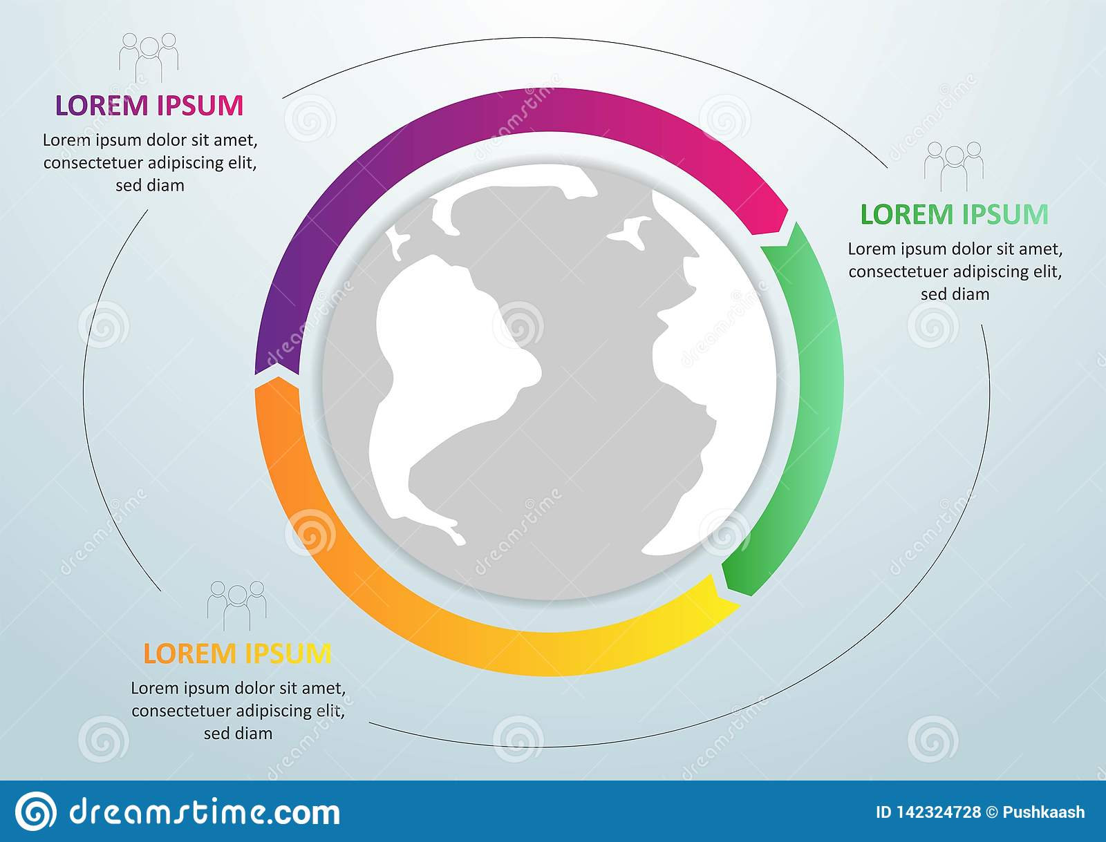 Modern infographics global template for 3 options. Vector. Can be used for workflow layout, banner, diagram, web design,