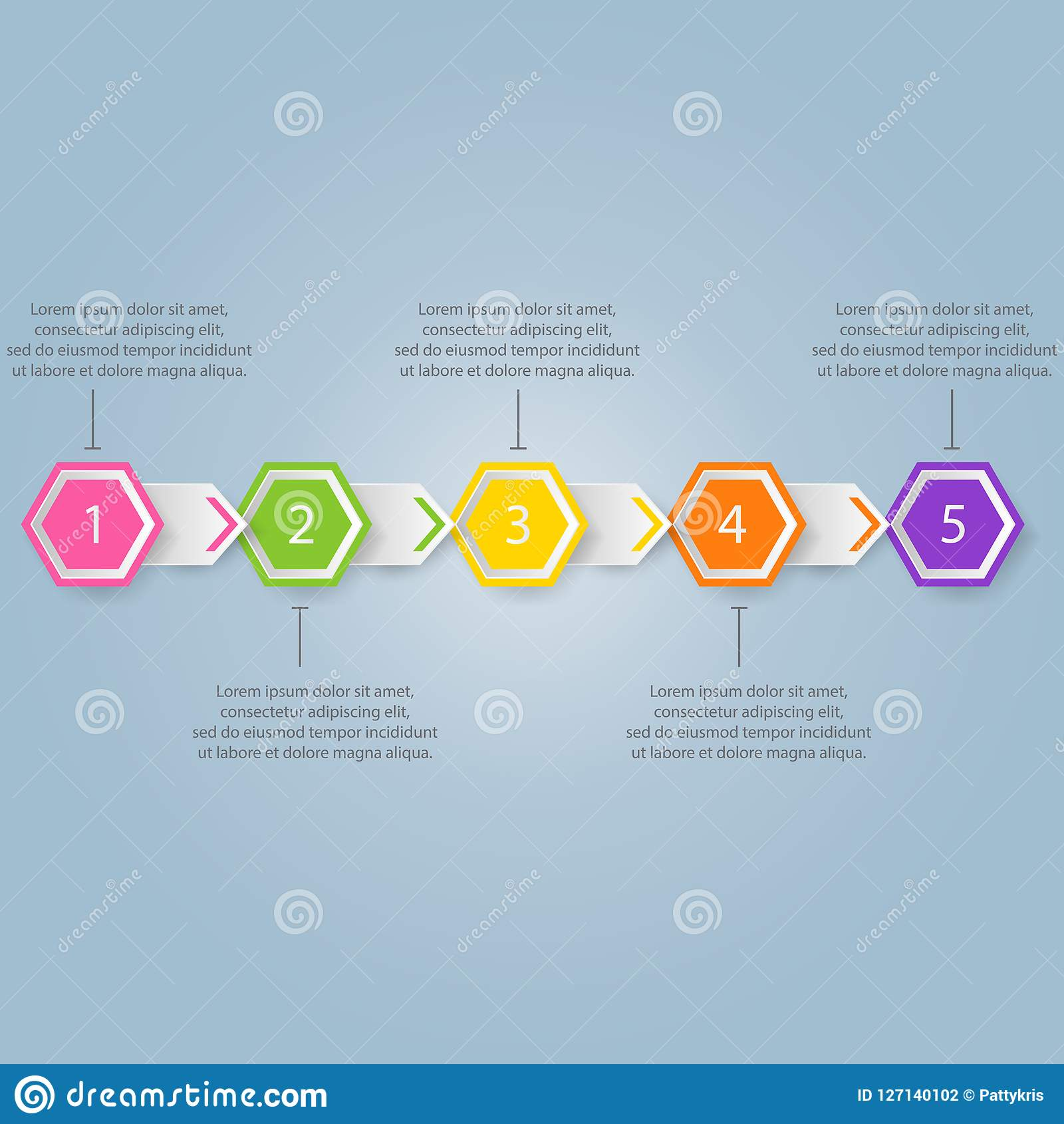 Modern infographics process template with paper sheets, polygons