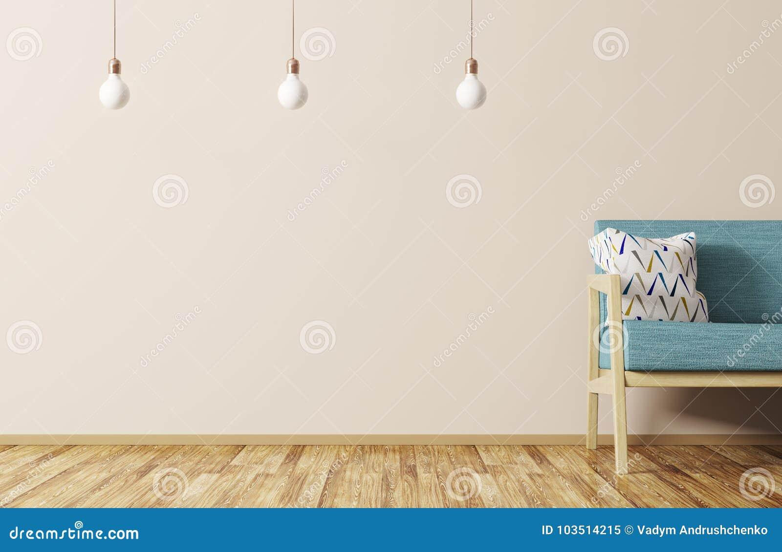 Modern inre av vardagsrum med den soffa- och för lampor 3d tolkningen