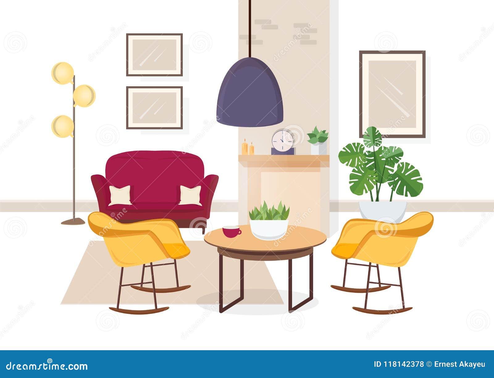 Modern inre av vardagsrum med väl till mods möblemang och moderiktiga hem- garneringar - soffa, fåtöljer, matta, kaffetabell