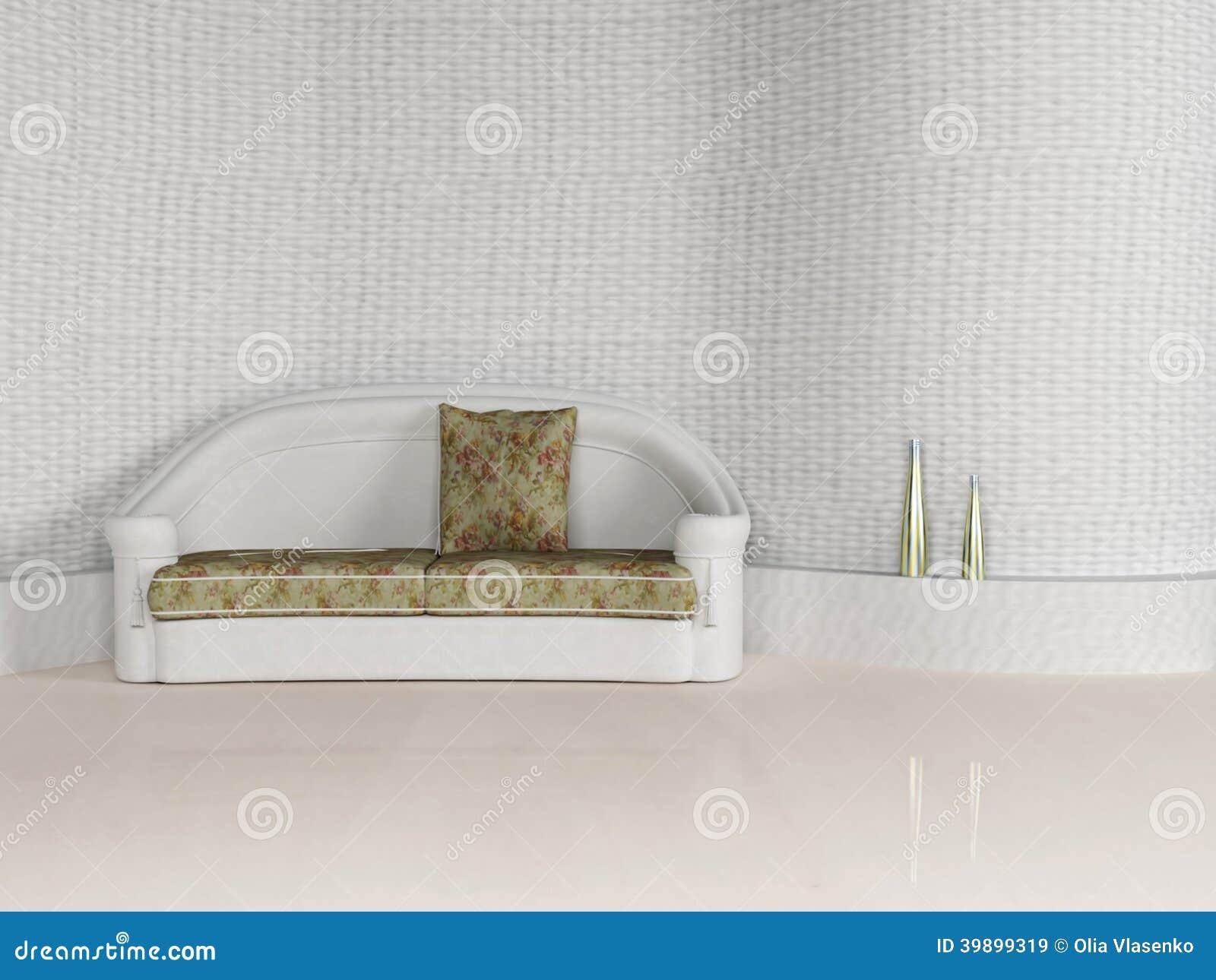 Modern inredesign av vardagsrum med en vit soffa stock ...