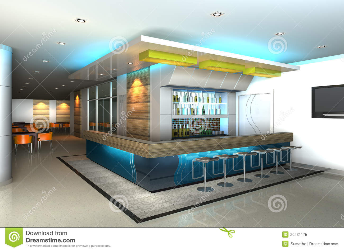 Modern Interior With 3D Counter Bar
