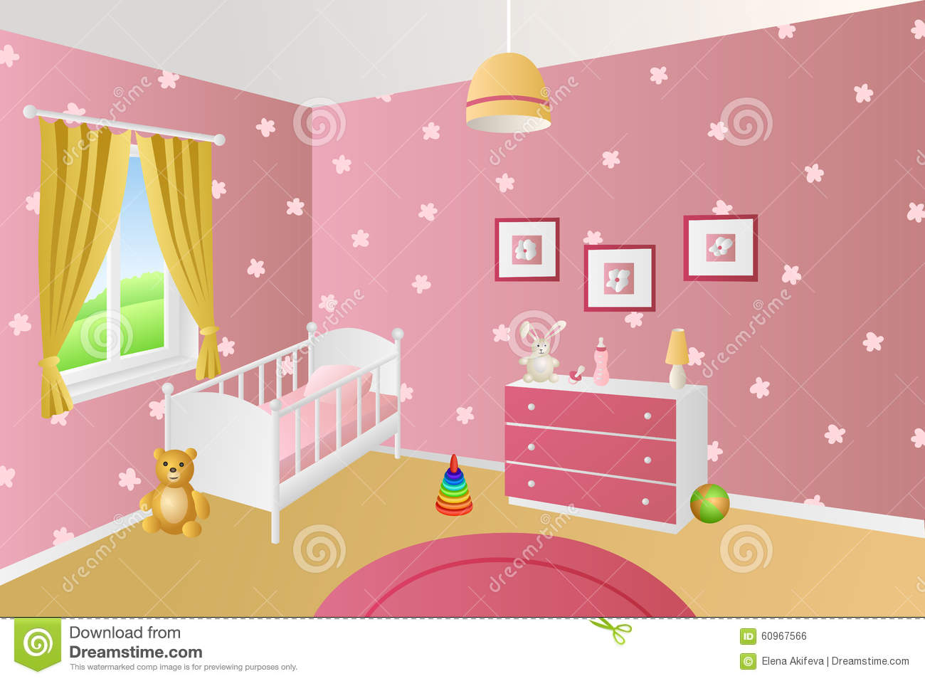 Modern Interior Baby Room Pink Toys White Bed Window