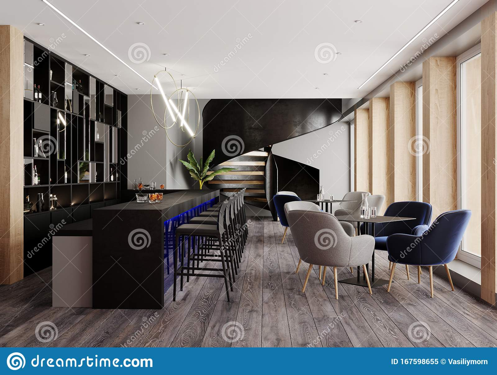 Modern Interior Of Bar Restaurant Concept Of Restaurant Interior With Black Bar And Blue Light And Armchairs And Black Stairs Stock Illustration Illustration Of Decoration Design 167598655
