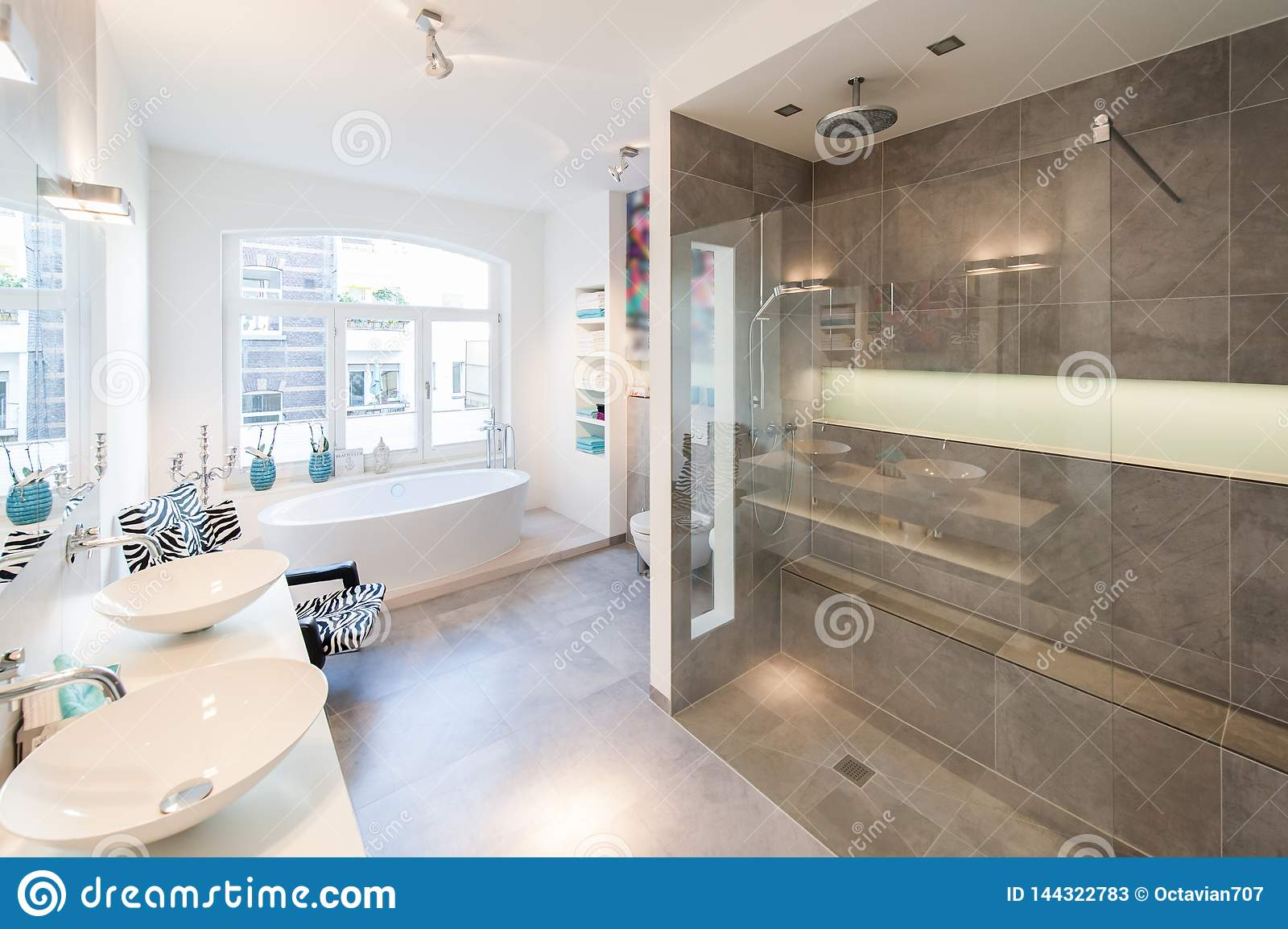 Modern Interior Of A Bath Room With Big Shower Cabin Stock Image Image Of Decor Interior 144322783