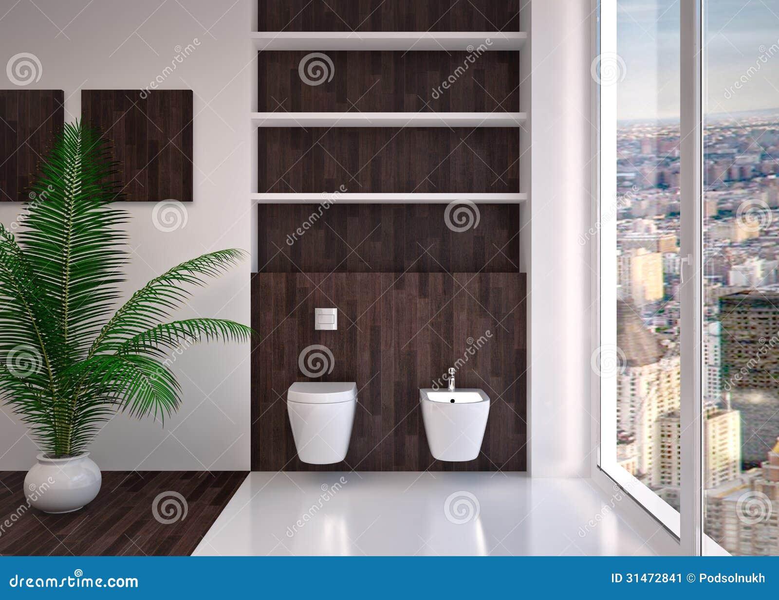Modern interior of bathroom stock illustration for Modern house interior bathroom