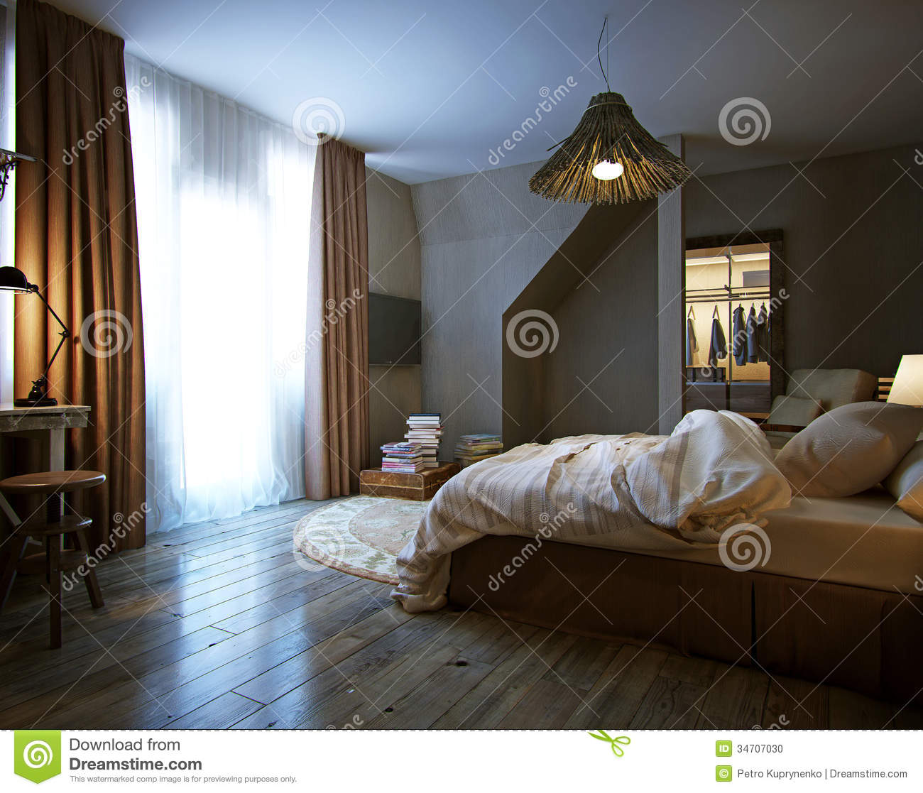 Modern Interior Of A Bedroom Stock Photo