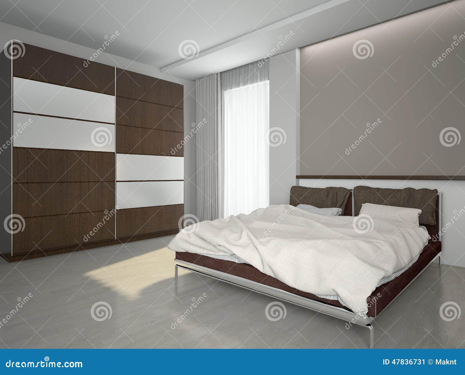 Modern Interior Of A Bedroom 3d Rendering Stock Illustration ...