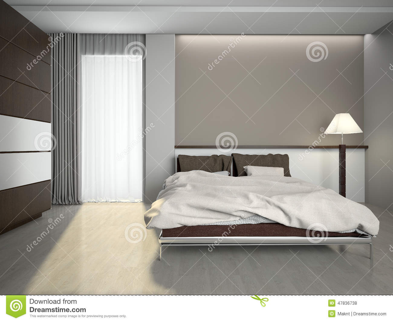 Modern Interior Of A Bedroom 3d Rendering Stock