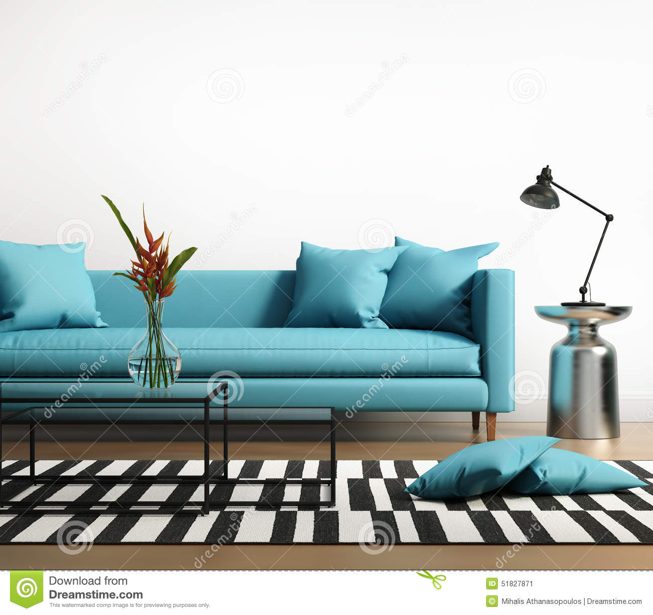 Modern interior with a blue turqoise sofa in the living - Sofa azul turquesa ...