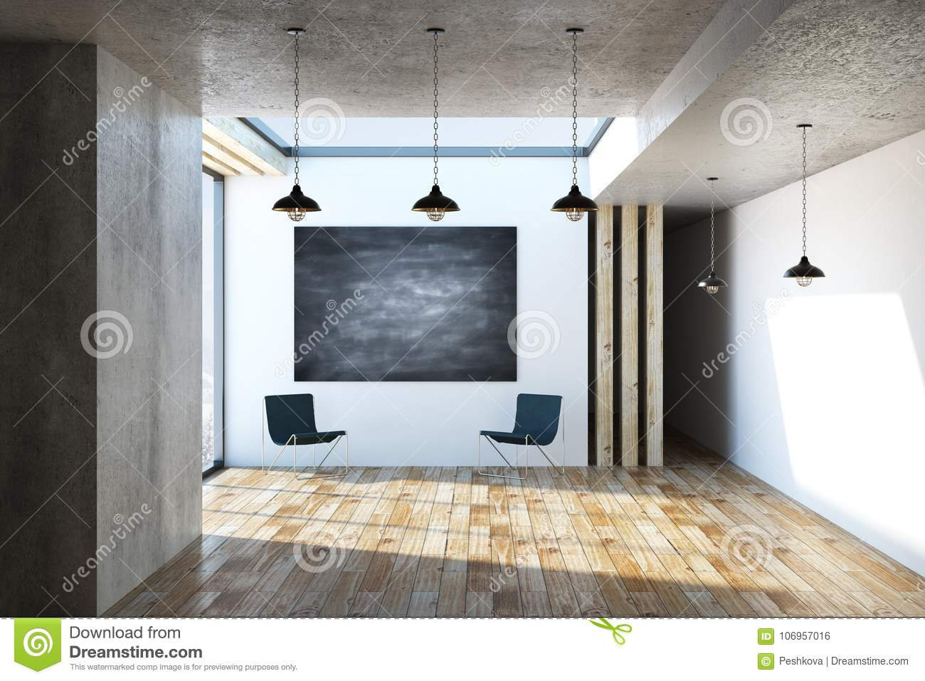 Modern interior with chalkboard banner stock illustration