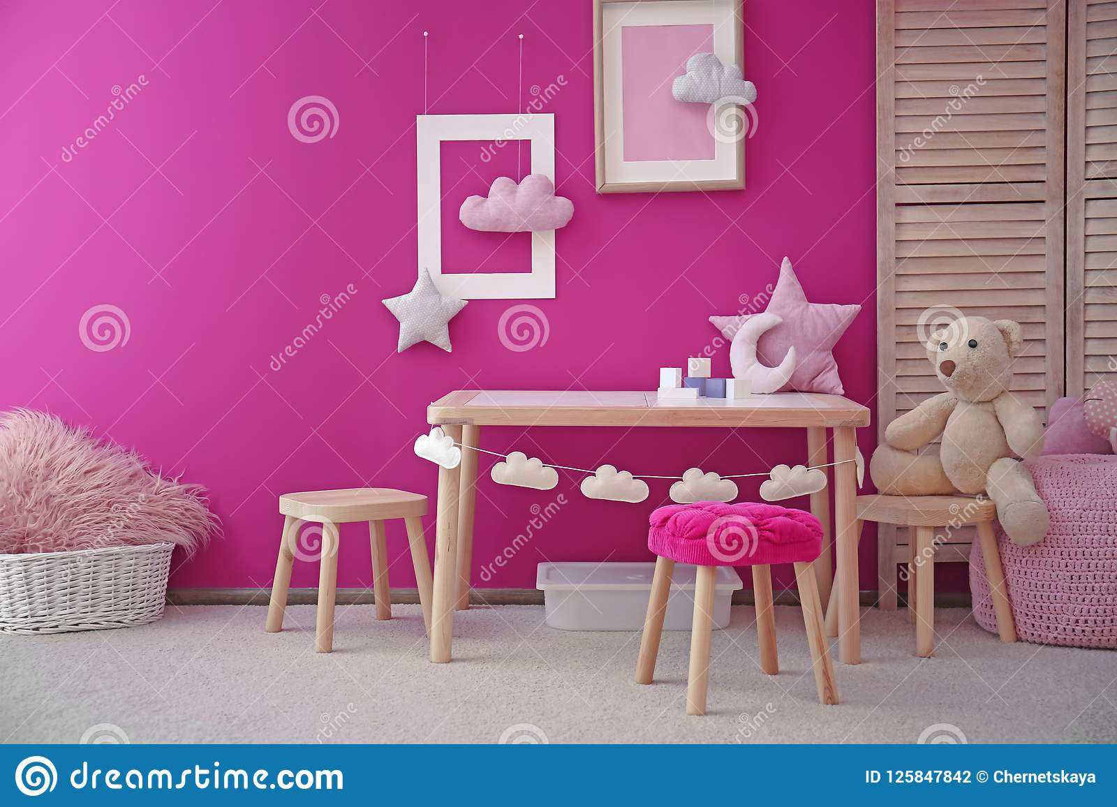 Modern Interior Of Child Game Room With Table Stock Photo Image Of Decor Decorations 125847842