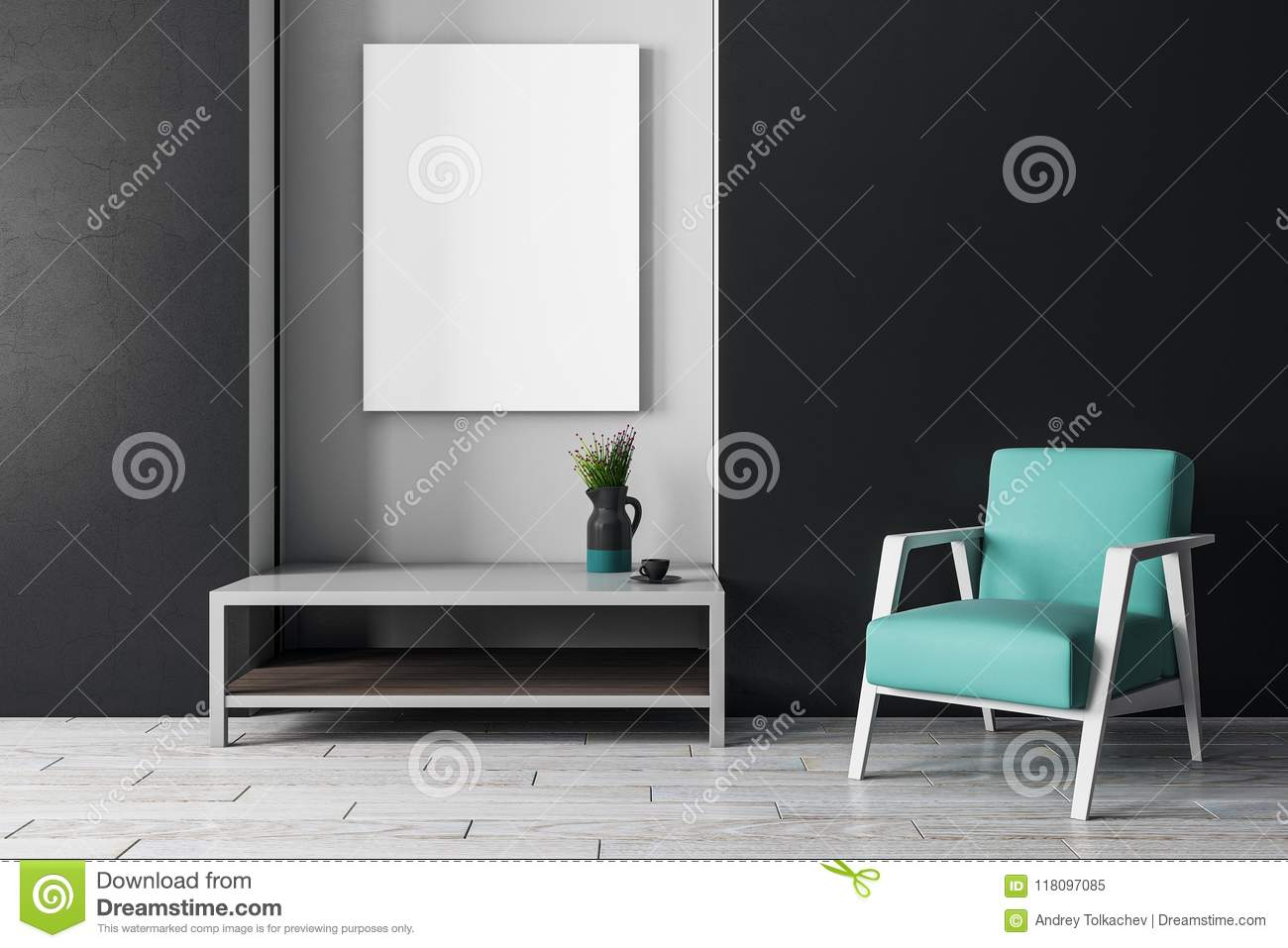 Modern interior with furniture and poster stock illustration