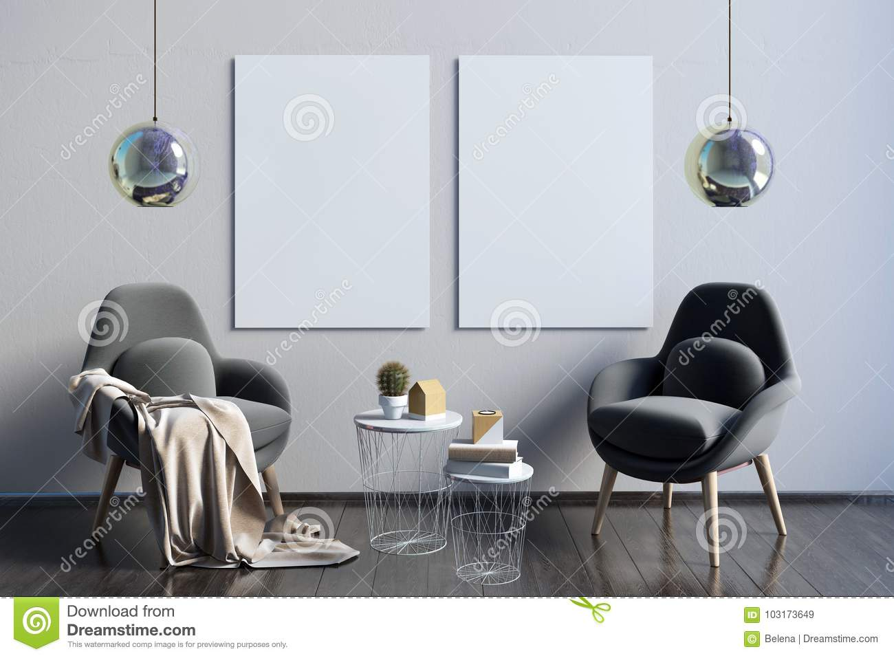 Modern interior with coffee table and pair of chairs poster moc