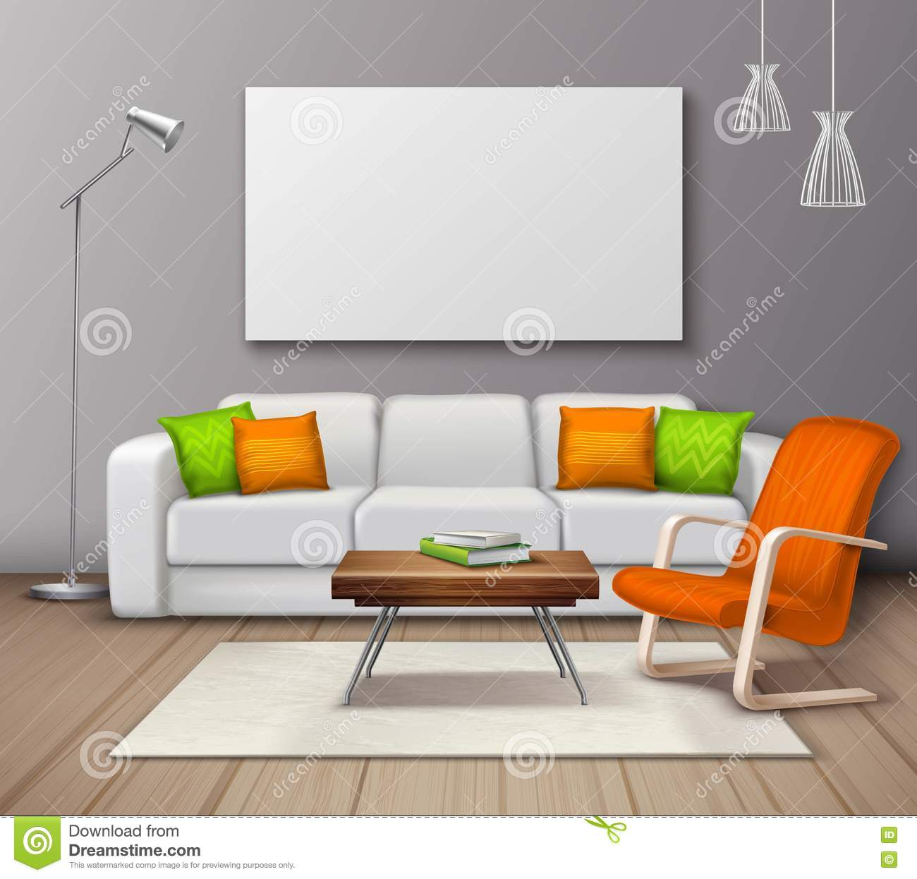 Modern interior colors mockup realistic poster stock for Contemporary interior colors