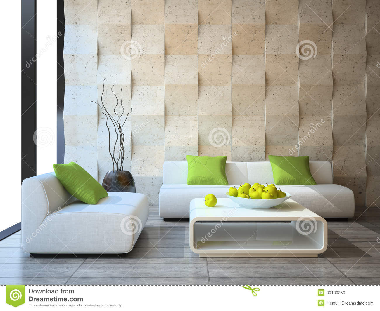 Modern Wall Cladding : Interior with concrete wall panels stock photo image