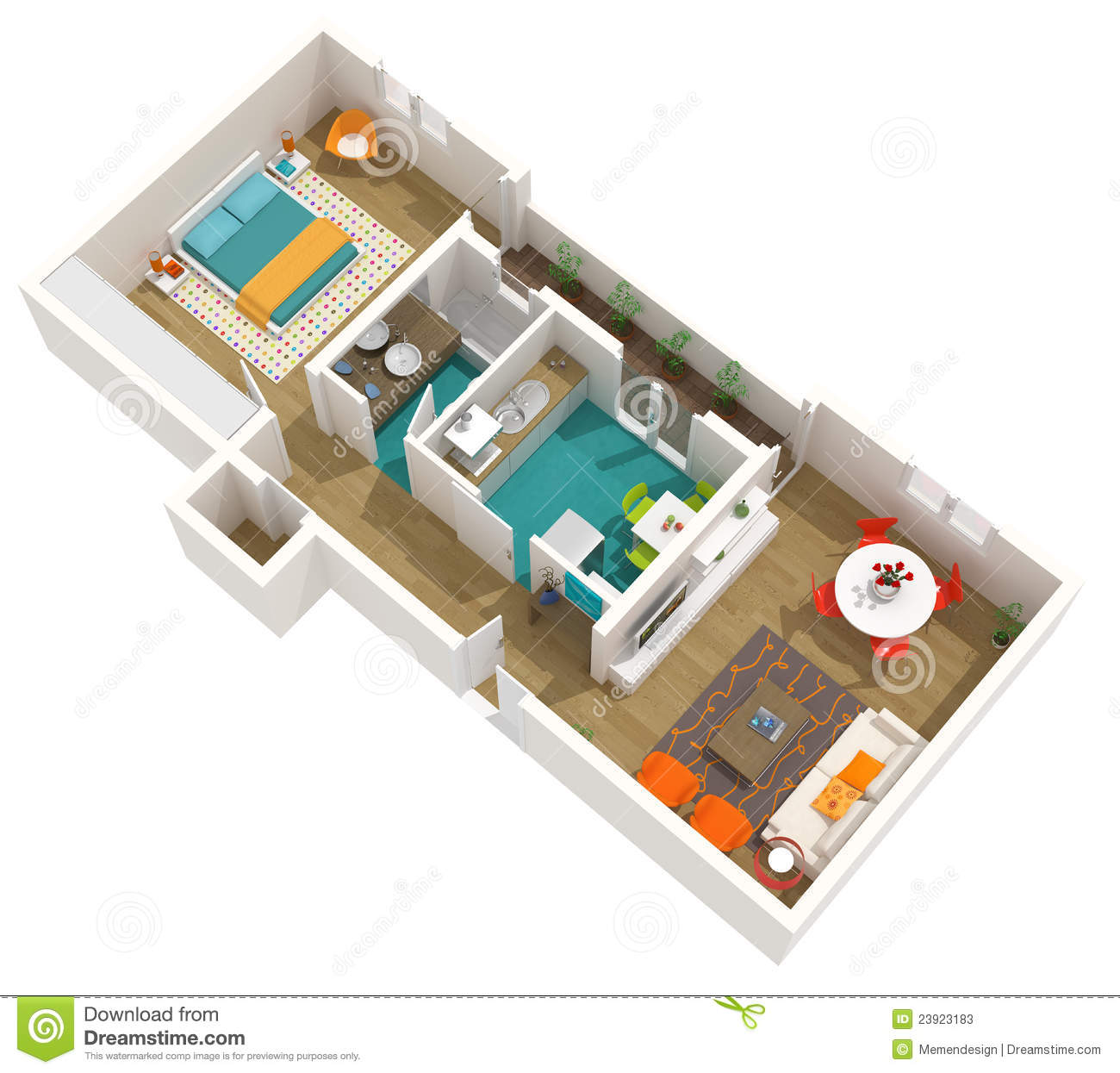 Modern Interior Design 3d Home Project Apartment Stock Illustration Illustration Of Apartment Orange 23923183