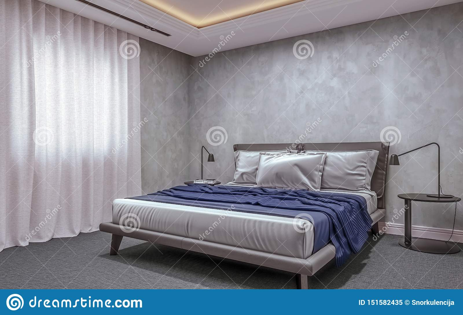 Modern Interior Design Of Basement Bedroom With Small Window King Size Bed With Bed Sheets Carpet Flooring Stock Illustration Illustration Of Large Decor 151582435