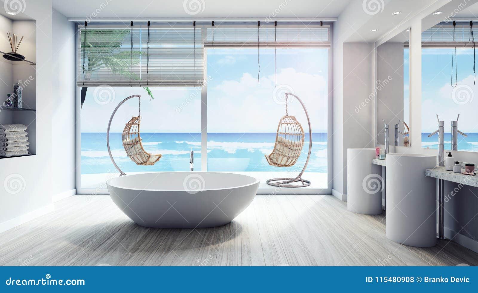 Modern Interior Design Of Bathroom 3d Render Stock Illustration ...