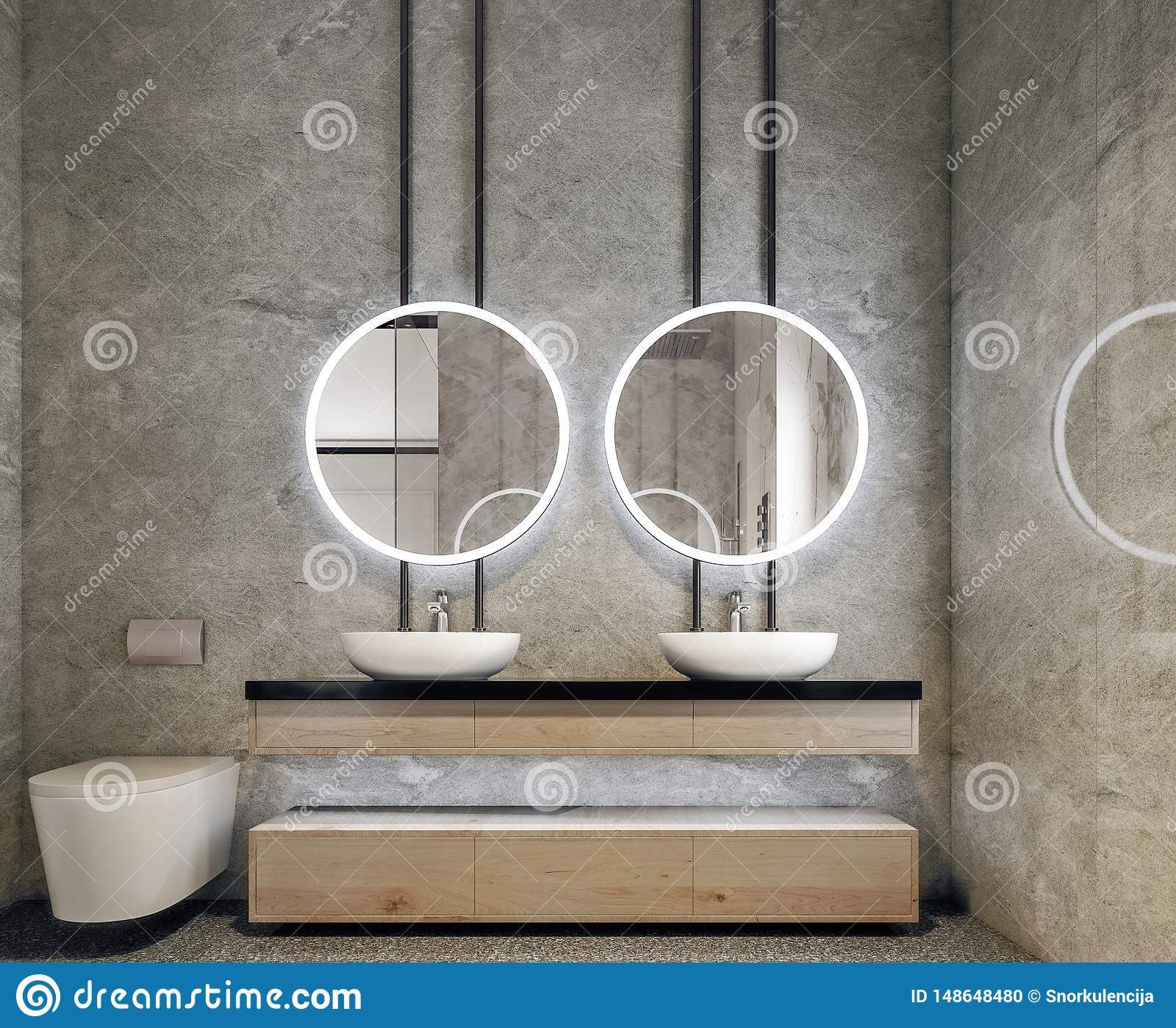 Modern interior design of bathroom vanity, all walls made of stone slabs with circle mirrors, minimalistic and clean concept