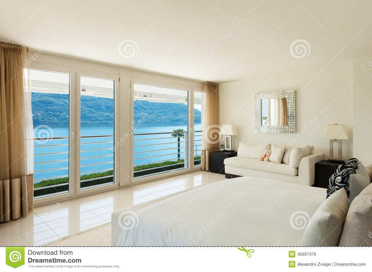 Modern bedroom interior design royalty free stock photo for Interior design moderno