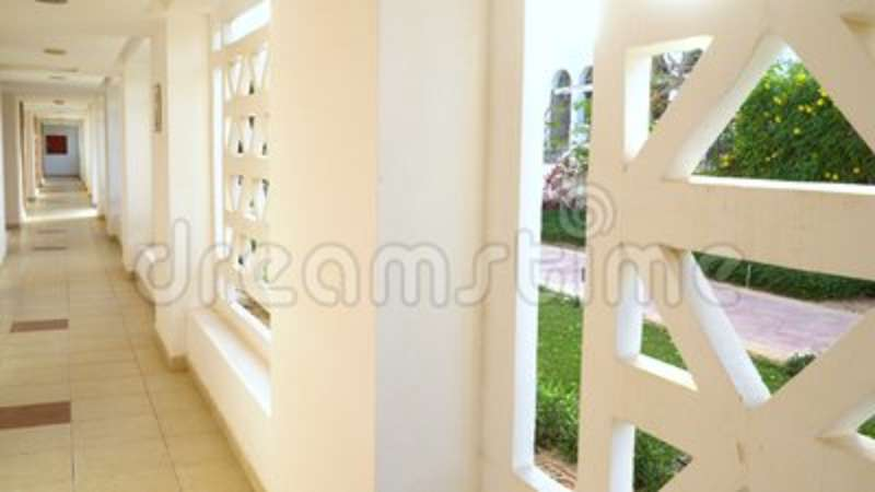 Modern interior design of corridor with empty wall and floor. in the