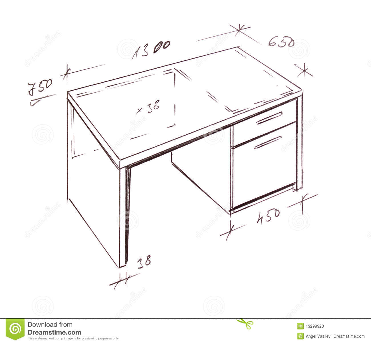 Design Desk Drawing Drawn Freehand Furniture Hand Illustration Interior